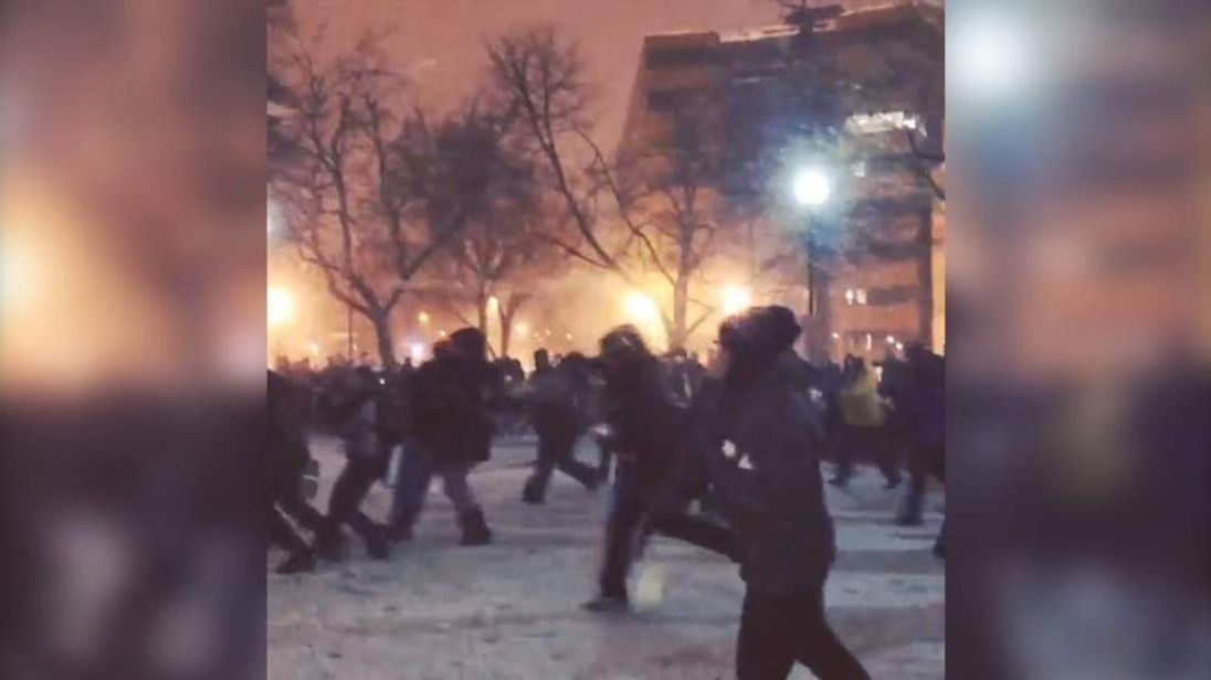 Washington DC Snowball Fight Association hold a match at Dupont Circle