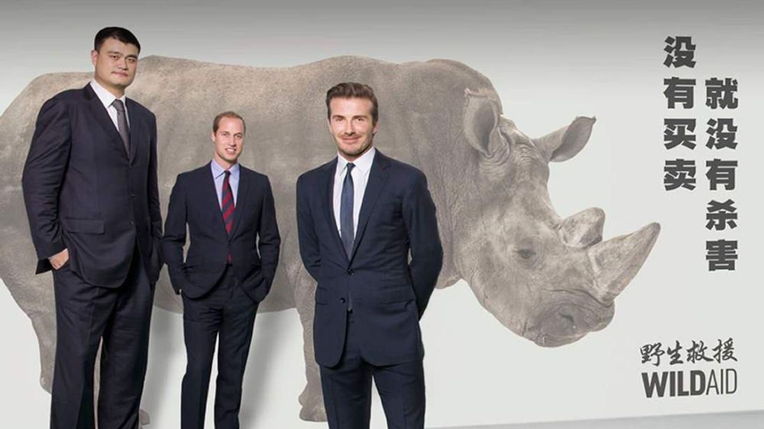 Yao Ming, The Duke of Cambridge and David Beckham, next to chinese writing which reads: When the buying stops, the killing can too