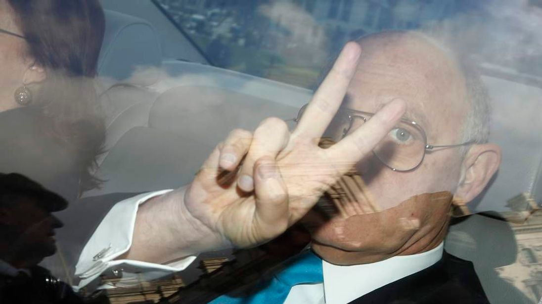 Argentina's Foreign Minister Hector Timerman gestures as he arrives at the Houses of Parliament