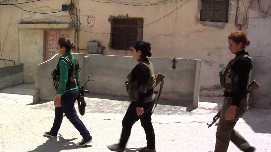 Kurdish women fighters in Aleppo, Syria.