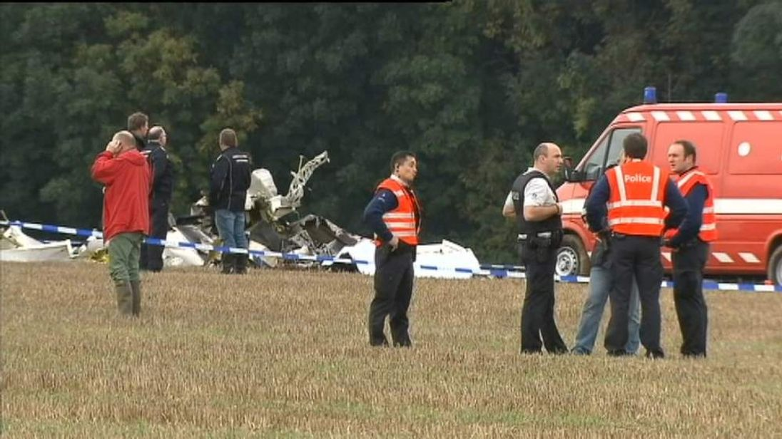 The scene of the fatal air crash in Belgium