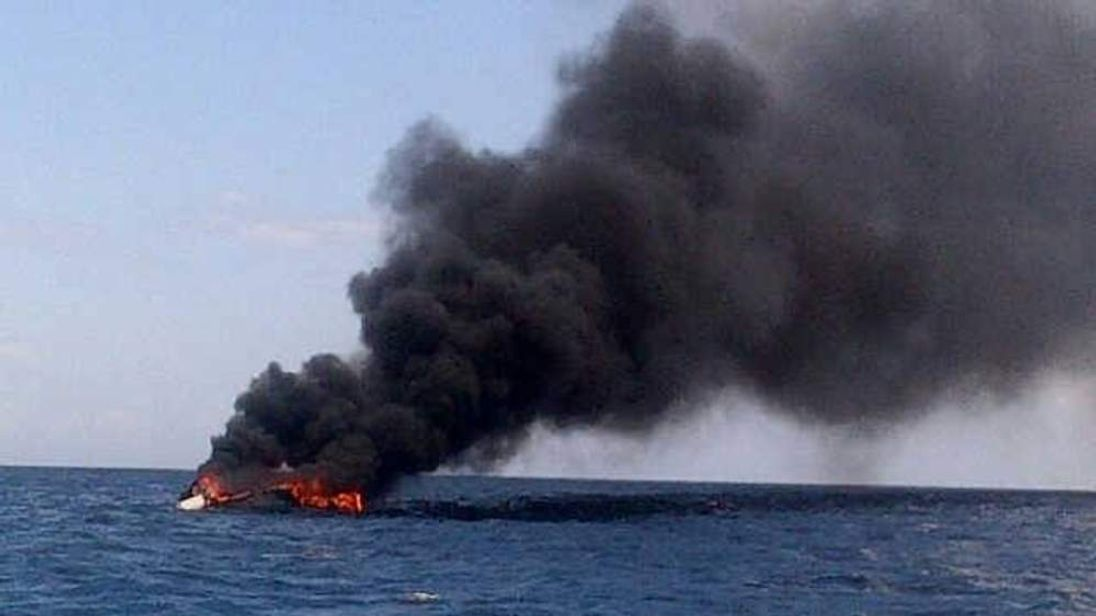 Photo of burning yacht in Caribbean