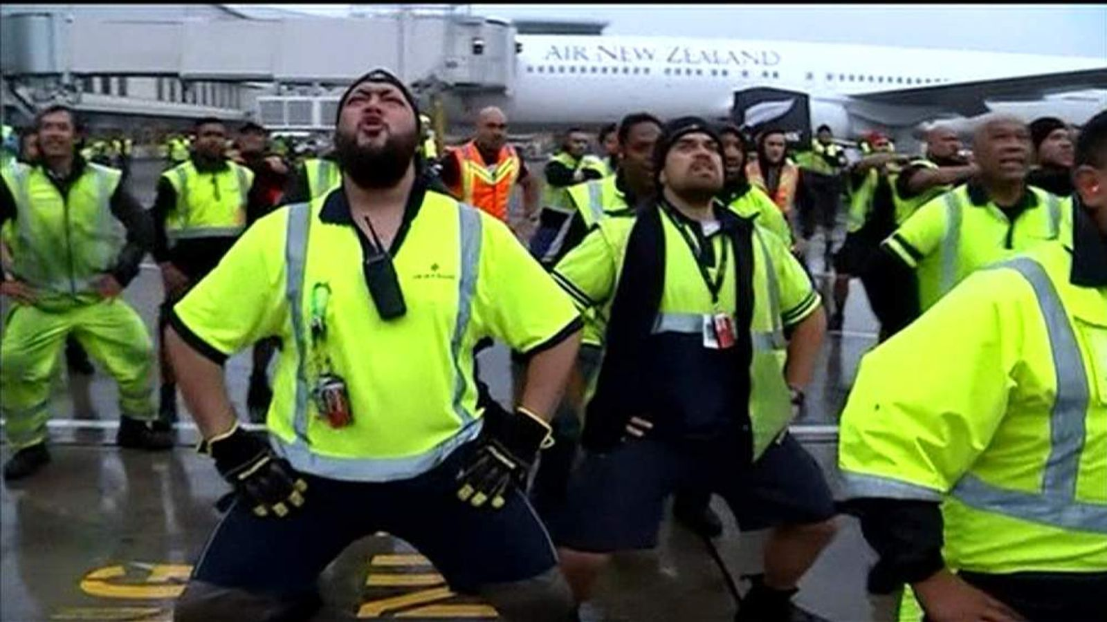 airport staff give all blacks a homecoming haka world. Black Bedroom Furniture Sets. Home Design Ideas