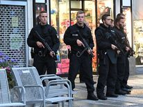 Police secure the area naer Stachus square