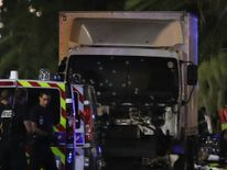 Bullet holes in the truck that killed dozens of people in Nice.