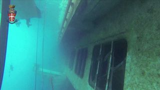 Costa Concodia - image from Italian police divers' video