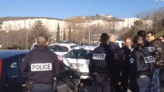 French police at the scene of the shooting
