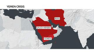 map of yemen and saudia arbia and iran