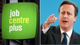 Composite image showing Job Centre Plus and Prime Minister David Cameron