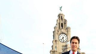 Ed Miliband raises the Saltire in Liverpool