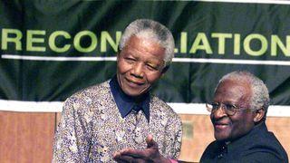 Nelson Mandela with Archbishop Desmond Tutu