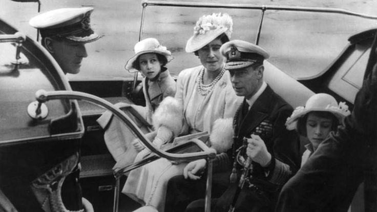 1939: Philip as a naval cadet at Dartmouth College with the Royal family