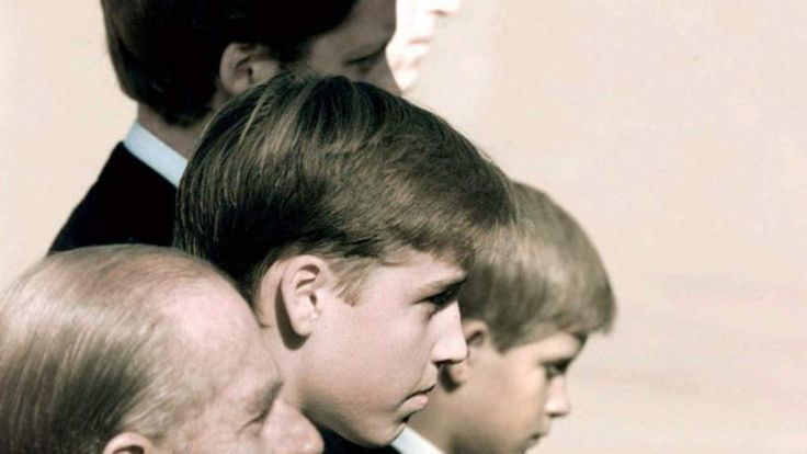 Prince Philip with, his grandsons William and Harry,at the funeral of Lady Diana