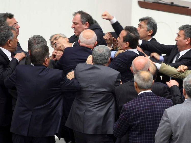 Brawl among MPs in Turkish Parliament