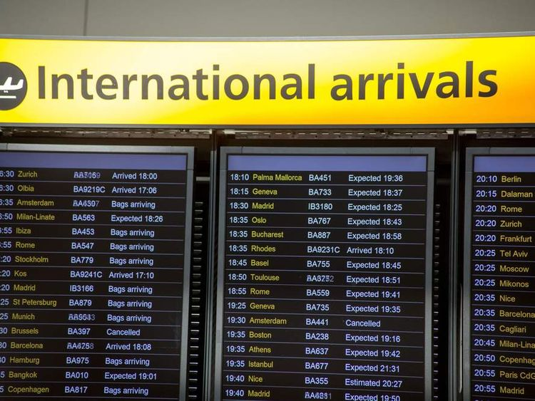 Arrivals Boards at Terminal 5 Heathrow Airport