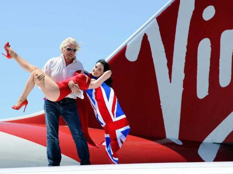 Sir Richard Branson celebrates 10 years of Virgin Atlantic's Las Vegas route
