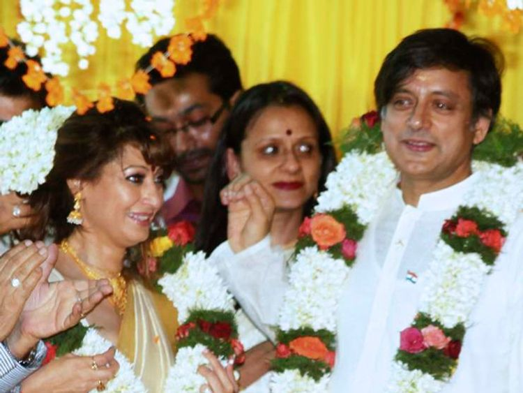 Sunanda and Shashi Tharoor on the wedding day in August 2010