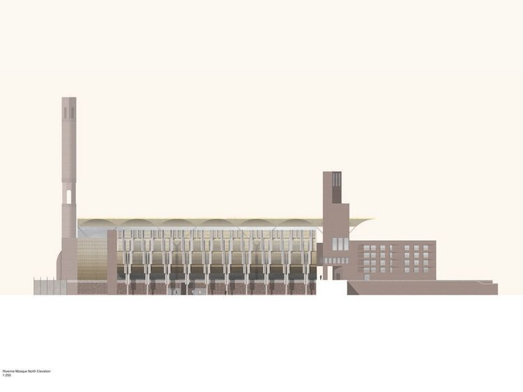 Architectural plans for a 10,000 capacity Mosque in West Ham, East London