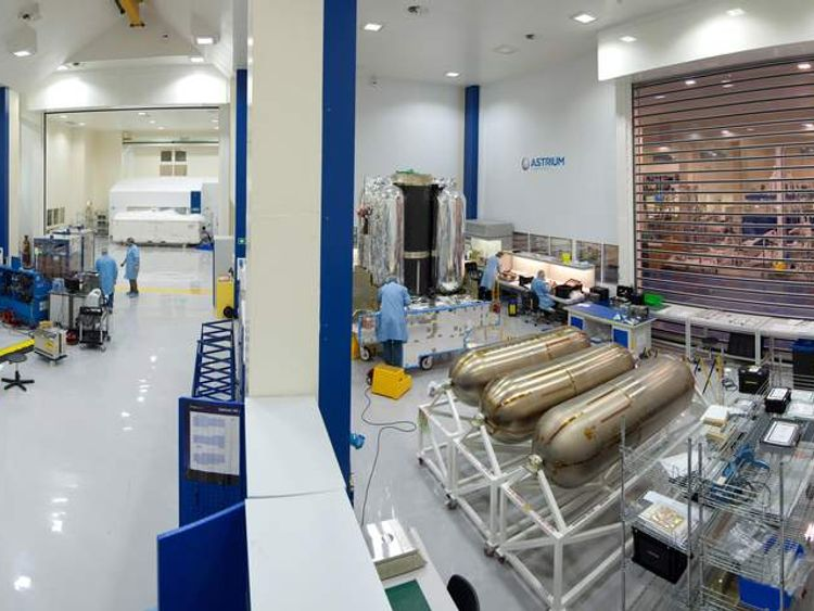 """Photo of a """"clean room"""" at Astrium's satellite construction facility in Stevenage"""