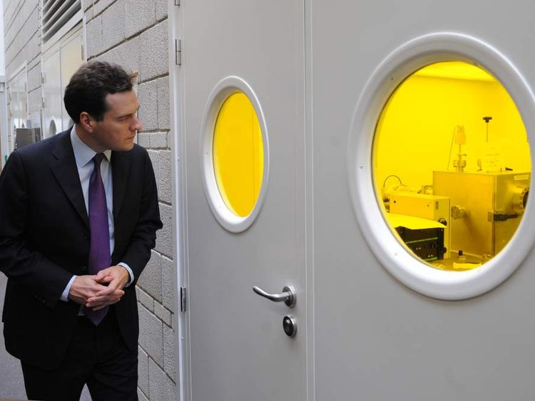 George Osborne tours science laboratories being used to research the use of graphene