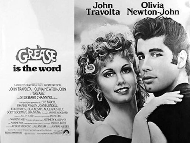 pg grease film travolta newton john poster