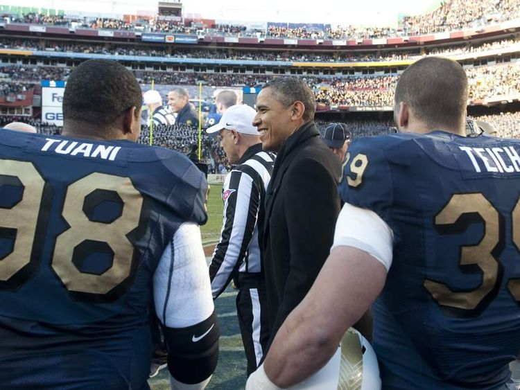 US President Barack Obama at an American Football game