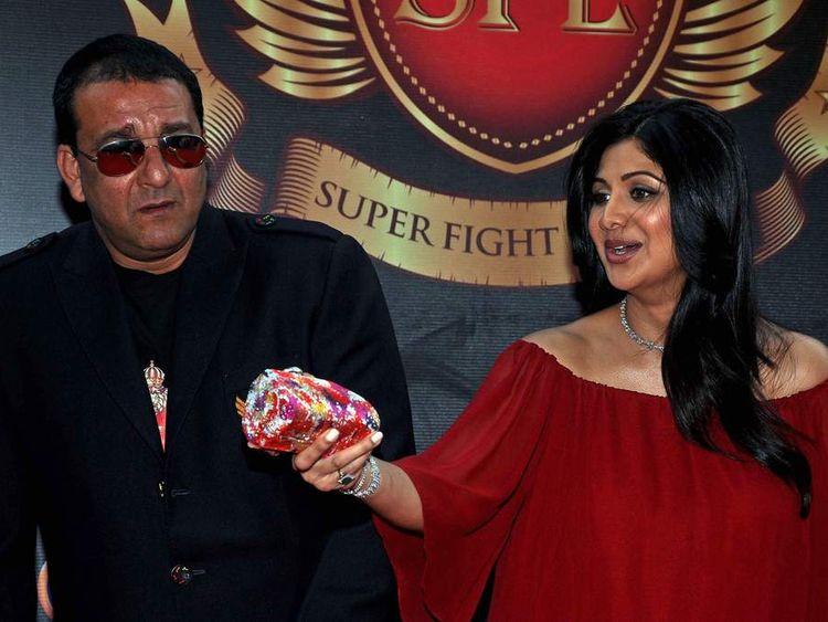 Indian Bollywood actor Sanjay Dutt (L) a