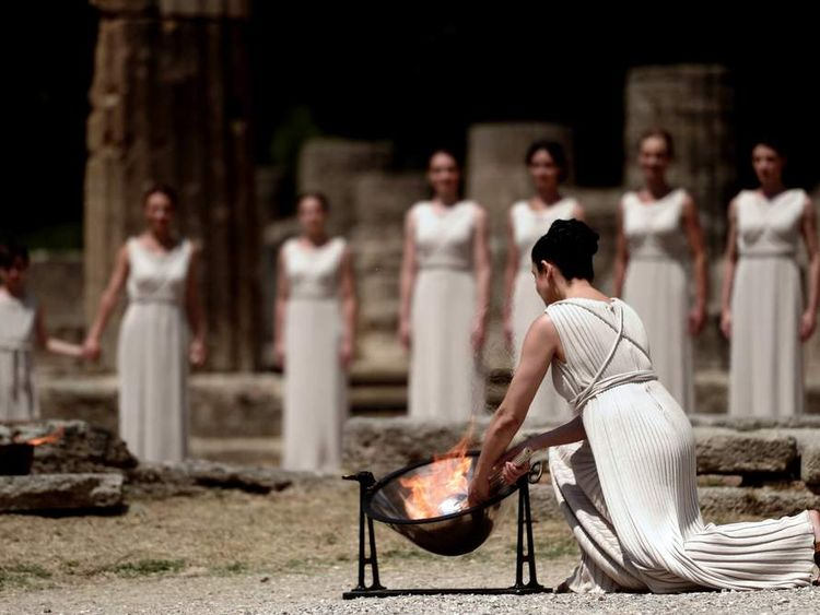 Olympic Torch Lit In Greece