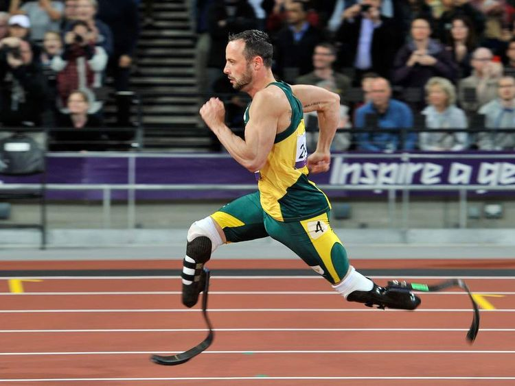 South Africa's Oscar Pistorius competes in the Men's 200m T44 final at the London Paralympics