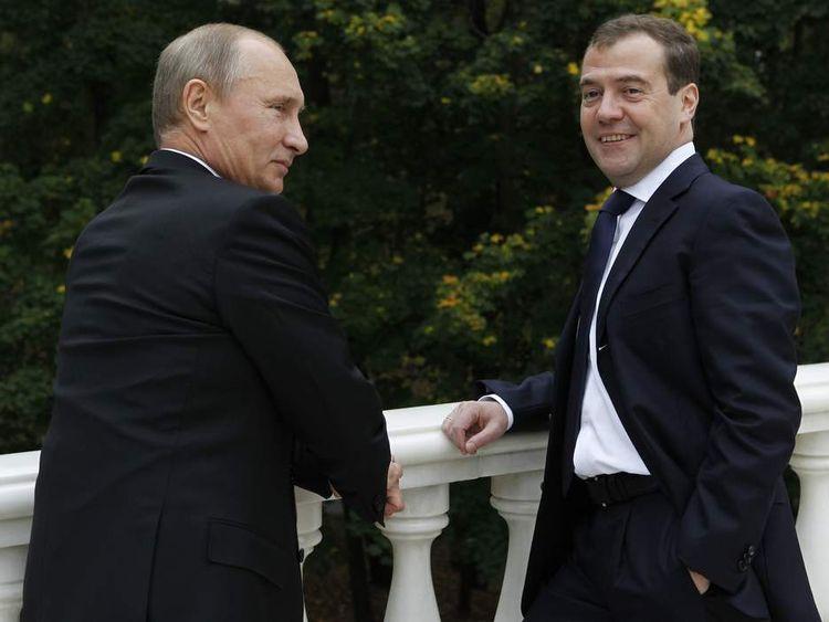 Putin (left) and Medvedev in Putin's residence