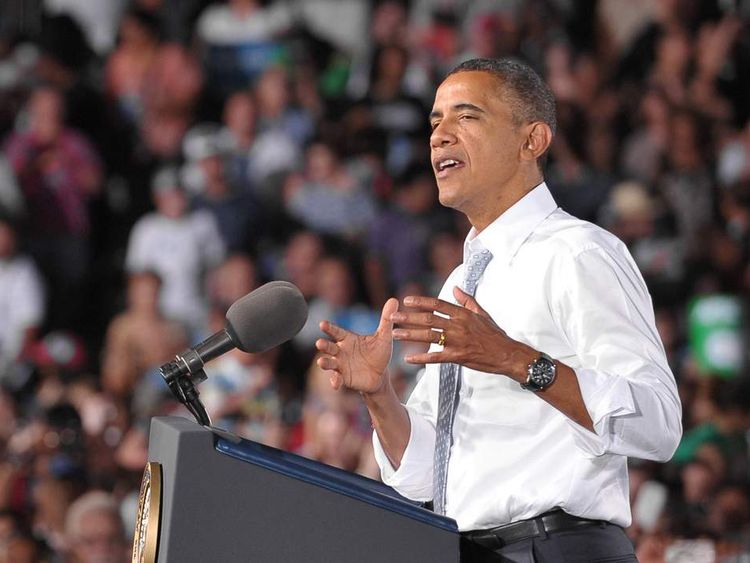US President Barack Obama speaks at a campaign event September 30, 2012 at Desert Pines High School Campaign in Las Vegas, Nevada.