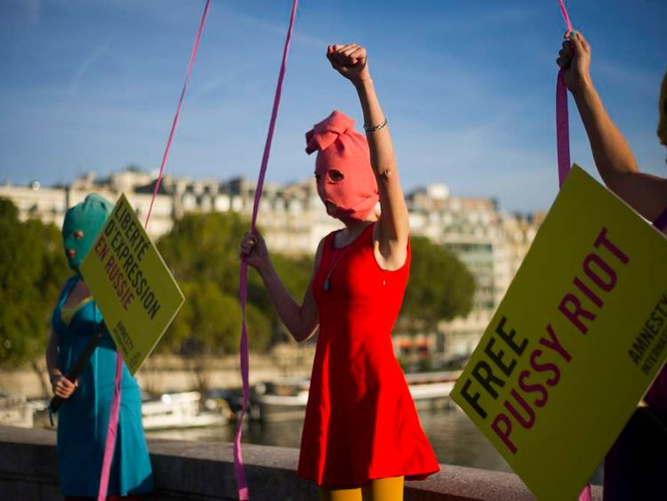 Pussy Riot supporters in Paris