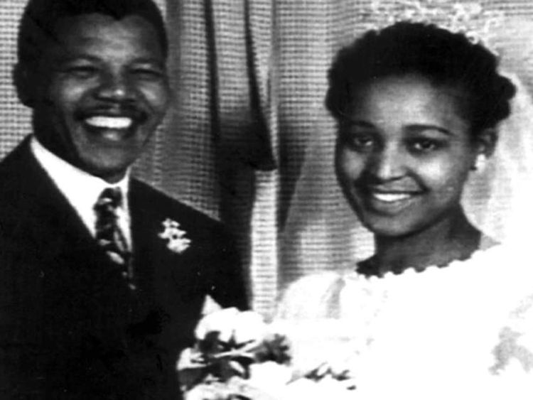 South African National Congress (ANC) leader Nelson Mandela and his then-wife Winnie at their wedding in 1957.