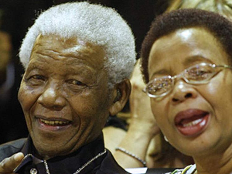 Nelson Mandela and his wife Graca Machel during celebrations of the 20th anniversary of his release from prison