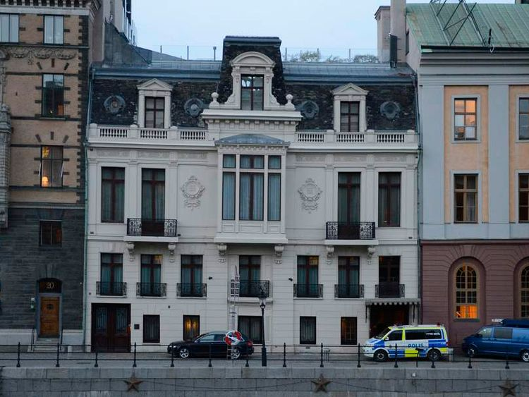 A police car is parked in front of the Swedish Prime Minister residence Sagerska Palace on November 9, 2012 in Stockholm.