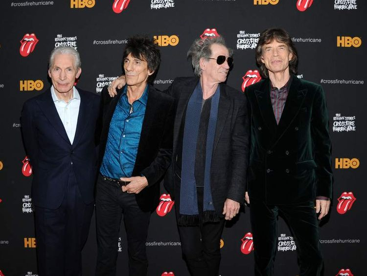 The Rolling Stones (L-R) Charlie Watts, Ronnie Wood, Keith Richards and Mick Jagger
