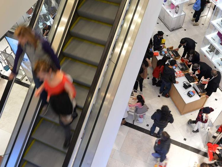 Shoppers at Macy's department store in New York
