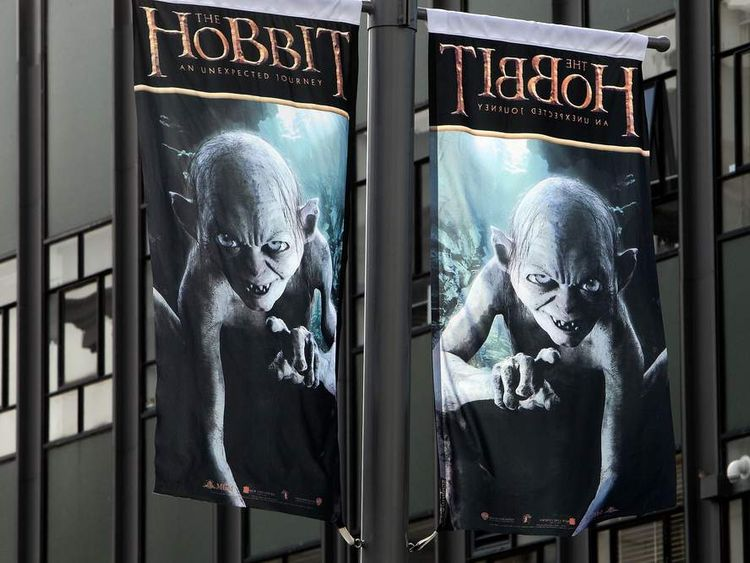 Flags featuring Gollum have been flying in Wellington ahead of the premiere of The Hobbit