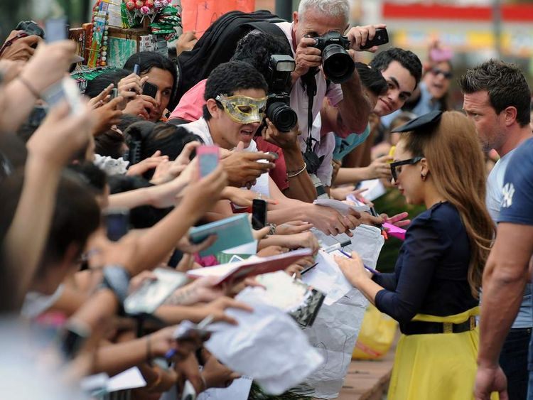 Lady Gaga signs autographs for fans in Uruguay