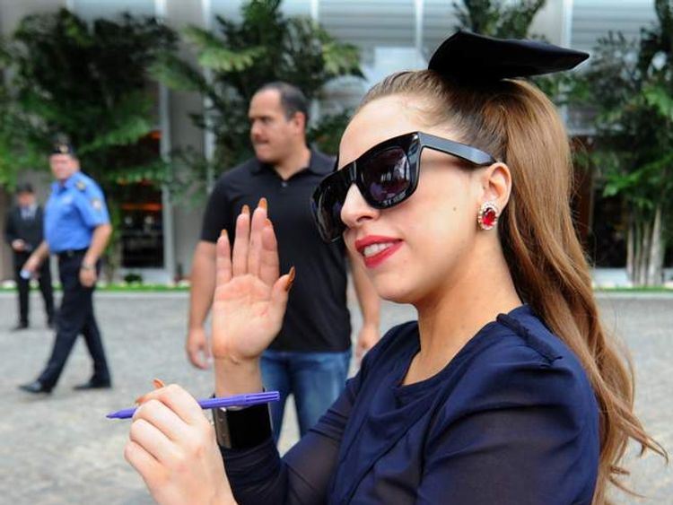 Lady Gaga signs autographs for her fans in Paraguay