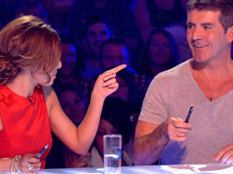 Cheryl Cole and Simon Cowell during filming of The X Factor