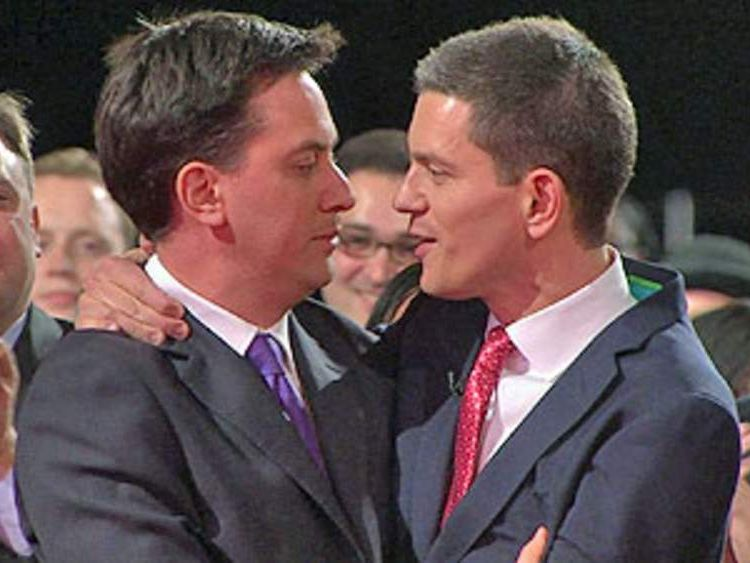 Ed Miliband wins leadership election and is hugged by brother David Miliband
