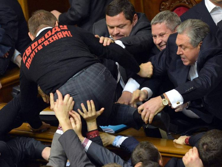 Ukraine Parliament Fight