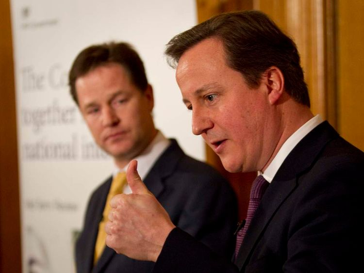 David Cameron and Nick Clegg at 10 Downing Street