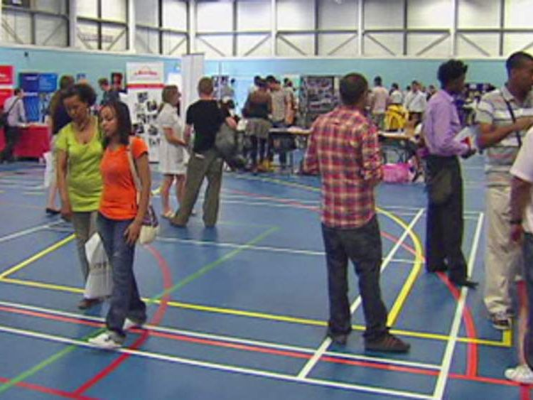 Young people at jobs fair