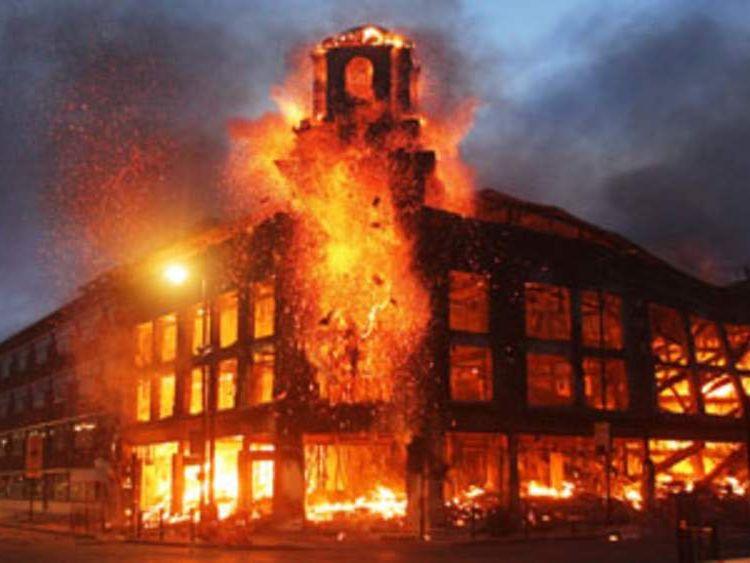 Tottenham carpet showroom ablaze in riots on Saturday, August 6, 2011.