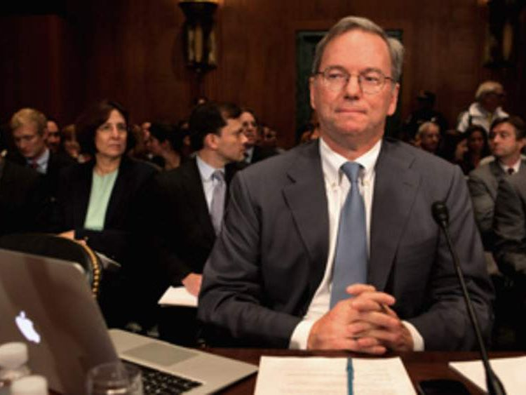 Executive Chairman Eric Schmidt appears at the US Senate.