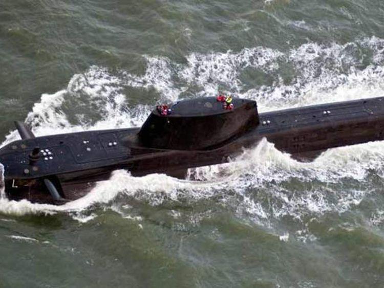 HMS Astute nuclear submarine leaving Barrow-in-Furness