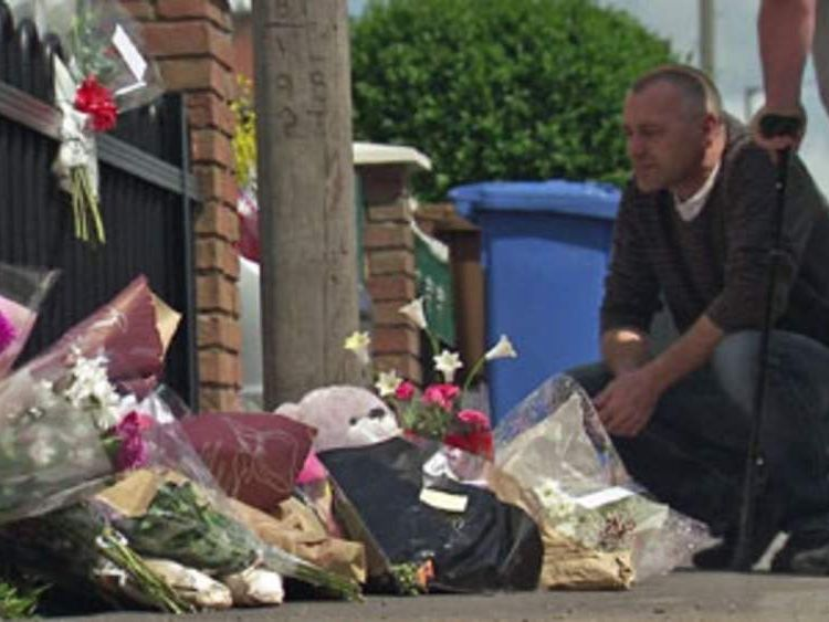 Flowers at site of Derby house fire