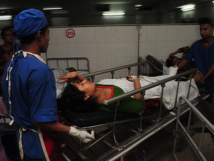 Victims in a hospital after a garment factory collapsed in Dhaka